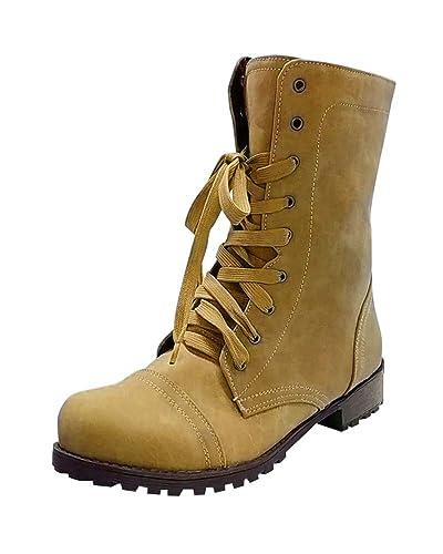 Minetom Mujer Botas De Martin De Cordones Botines Invierno Otoño Moda Elegante Tacón Ancho Bajo Tacones Casual Ankle Boots: Amazon.es: Zapatos y ...