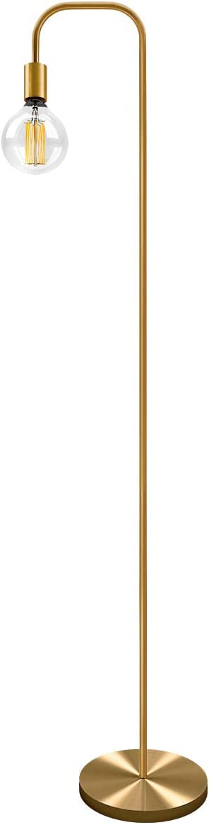 Oneach Industrial LED Floor Lamp for Living Room Bedroom Reading Office Metal Minimalist Standing Lamp UL Certified Antique Brass