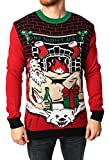 Ugly Christmas Sweater Men's Romantic Santa Light-Up, Cayenne, Large