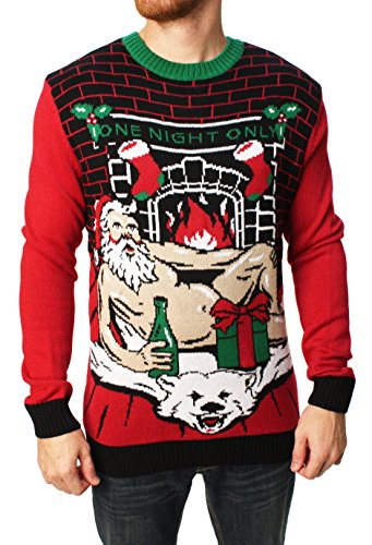 Ugly Christmas Sweater Men's Romantic Santa Light-Up, Cayenne, Large
