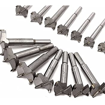 Forstner Drill Bit,Baban 16Pcs 15mm-35mm Tungsten steel Woodworking Hole Saw Set Auger Opener Drilling Wood Plastic Plywood with Round Shank