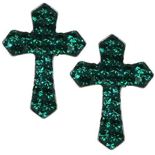 (YACQ 925 Sterling Silver Crystal Cross Dangle Earrings for Women (Green))