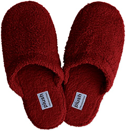 Plush Signature Slippers - 100% Soft Micro-fleece House Slippers Cranberry f3ESf