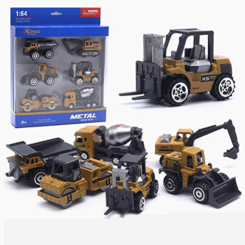 Yi Daxin Construction Vehicle Toy Car Set Sturdy Car Boy Girl Party Birthday Gift Engineering Car 6 Pieces, Mini Car Dump Truck Bulldozer Mixer Truck Forklift Excavator, Suitable for Over 3 Years Old