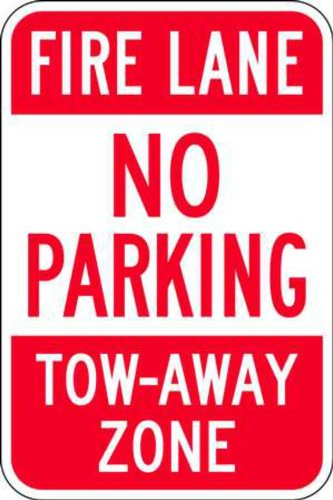 ZING 2492 Eco Parking Sign, Fire Lane No Parking, 18Hx12W, Engineer Grade Prismatic, Recycled (Fire Lane Traffic Sign)