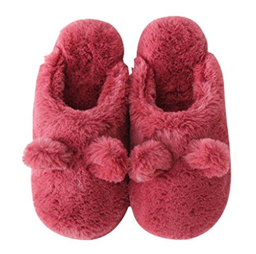 Cattior Mujeres Fleece Cute House Zapatillas De Interior Warm Fluffy Slippers Red