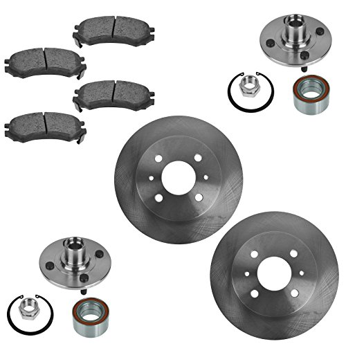 Wheel Bearing with Ceramic Brake Pad & Rotor Front Kit for Saturn SC SL SW ()