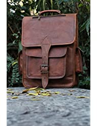 Hlc Leather Backpack College Backpack Leather Rucksack School Backpack Travel Leather Backpack Leather Laptop...