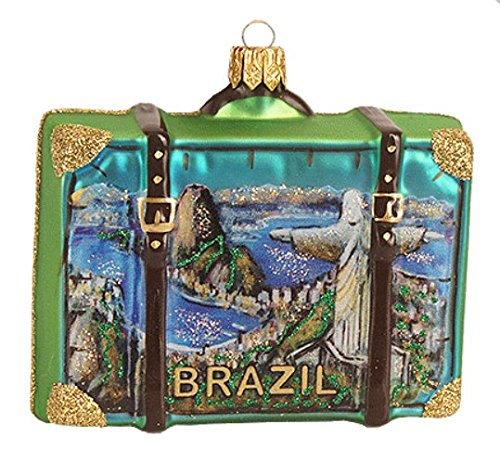 Brazil Rio De Janeiro Christ the Redeemer Statue Suitcase Polish Glass Christmas Ornament Travel Souvenir Decoration 110010 (Rio Statue Redeemer Christ)