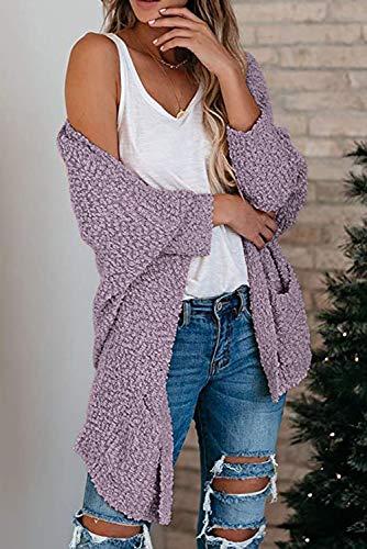 MEROKEETY Women's Fuzzy Popcorn Batwing Sleeve Cardigan Knit Oversized Sherpa Sweater Pockets Coat