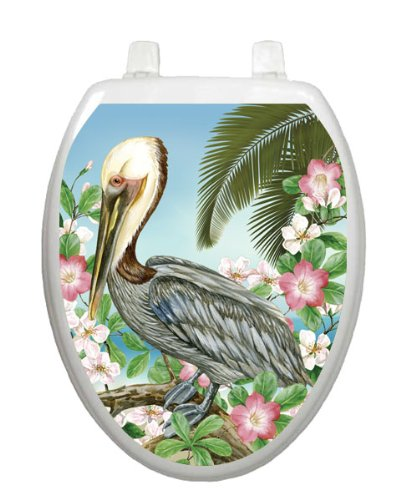 Pelican Toilet Tattoo TT-1093-O Elongated Lake Pond Summertime Seat Decal Florida by Toilet Tattoo