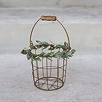 Rustic Flower Girl Basket - Metal Wedding Basket w/Wood Handle - Flower Petal Basket - Rustic Flower Girl Basket by Ragga Wedding