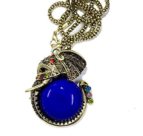 Lanqniqi Retro Fashion Bronze Pearl Peacock Elephant carp heart shaped retro Necklace Chain Elepant blue