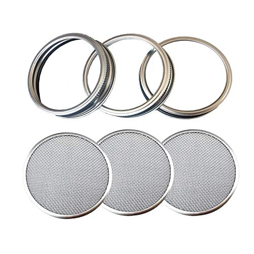 THINKCHANCES Rust Resistant Stainless Steel Sprouting Screen Lids and Bands for Wide Mouth Mason Ball Canning Jars for Growing Organic Sprout Seeds at Your Home (Wide Mouth, 3 Pack)