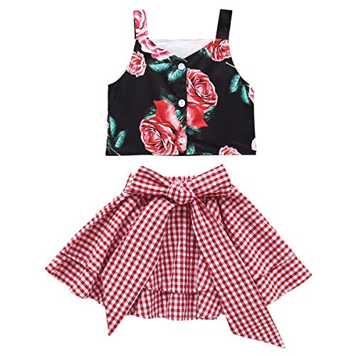 Toddler Baby Girls Floral Outfits Strap Sleeveless Button Tank Top+Red Plaid Ruffled Mini Tutu Skirt Dress Clothes Set (Floral, 4-5 Years) ()