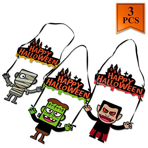 3PCS Cute Halloween Decorations for Kids Halloween Door Hanger Kids Halloween Door Decorations Friendly Door Hanging Banner Wall Signs]()