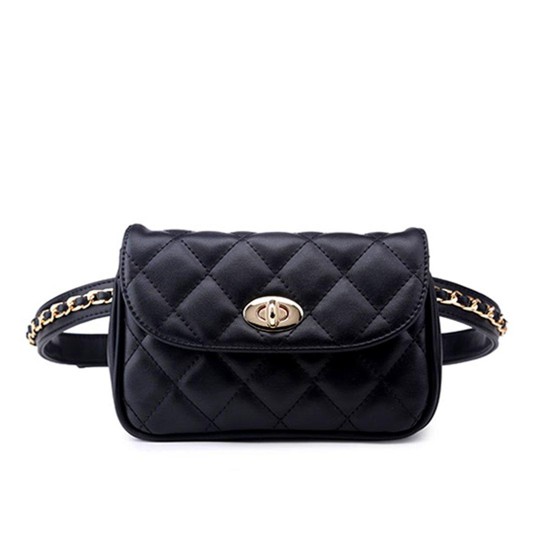 xhorizon FL1 Womens Elegant Leather Fanny Pack Cute Waist Pouch Stylish Travel Cell Phone Bag (Black)