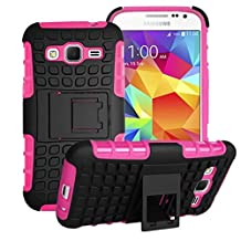 Samsung Galaxy Core Prime Case Cover -Lantier Tough Rugged Dual Layer Protective Case with Kickstand for Samsung Galaxy Core Prime G360 / Prevail LTE (2015 Release) Hot Pink
