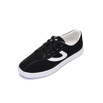 QPYC Mesdames Toile Chaussures Neutre Toile Cravate Sauvage Petit Blanc Chaussures Étudiant Occasionnel Mouvement Chaussures , 35 , black