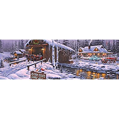 Vermont Christmas Company Holiday Gathering Jigsaw Puzzle 1000 Piece Panoramic Puzzle: Toys & Games