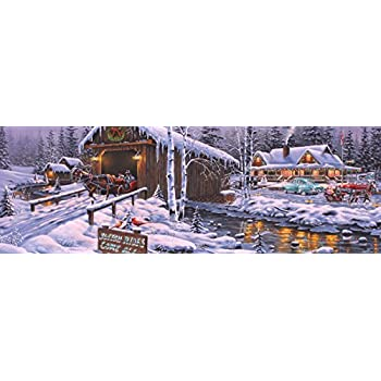 Vermont Christmas Company Holiday Gathering Jigsaw Puzzle 1000 Piece Panoramic Puzzle
