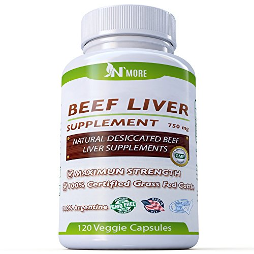 N'More Desiccated Liver Capsules, Certified 100% Grass Fed Undefatted Argentine Natural Beef Liver Supplements, 120 Capsules, 750mg per Capsule by N' More
