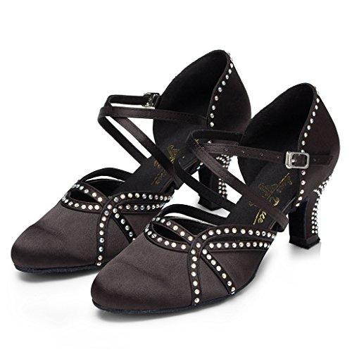 Doris Glitter Black Professional Women's Rhinestone Morden Ballroom Party Satin US Dance Shoes Salsa B Wedding Tango M 8 Latin qFFrE