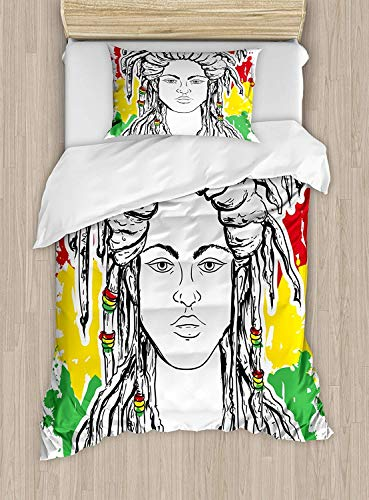 MIGAGA Rasta Luxury 4-Piece Bedding Set,Grunge Ethiopian Flag Colors with a Black and White Sketchy Girl Image,Duvet Covers Set Duvet Cover Bed Sheet Pillow Cases,Red Marigold and Green