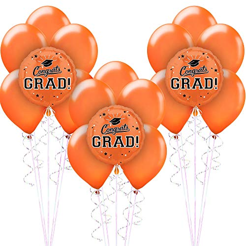 (Party City Congrats Grad 18 Count Balloon Kit, 2019 Graduation Party Suppliess with Orange Foil and Latex)