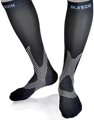 Blitzu Compression Socks Men and Women Performance Stockings Medical Diabetic Grade Graduated Leg Support Recovery and Relief Prevent Swelling Shin Splints Calf Pain Airplane Flight Travel & Arthritis