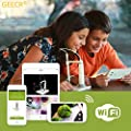 Microscope GEECR Wireless Digital Electron Wifi Microscope for Mobile (iOS & Android) and PC with Zoom 150x Rechargeable Waterproofing IP67 and High-definition for Kids Home&School Education