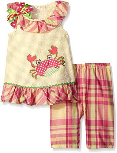 Bonnie Jean Girls' Crab Appliqued Seersucker Playwear Set, Yellow, 6 by Bonnie Jean
