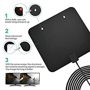 Digital antenna,TV antenna for digital TV indoor,50+ miles range with Detachable Signal Amplifier Booster for 1080P High Reception,Aluminum foil antenna, Installation more flexible, stronger signal.