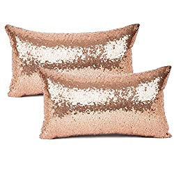 Throw Pillow Cover With Sequin & Comfy Satin