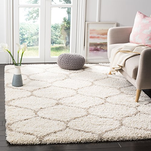 Safavieh Hudson Shag Collection SGH280D Ivory and Beige Moroccan Ogee Plush Area Rug (4' x 6')