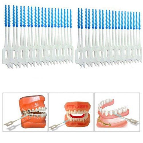 Floss Soft massage toothpick Interdental Brush Elastic Massage Gum Toothpick Oral Hygiene Care Tools (80pcs(Pack of 2))