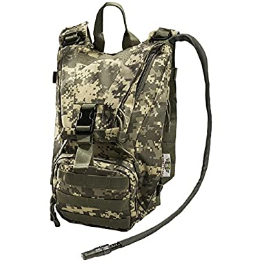 Hydration Pack with 2.5L Bladder and 2 Additional Pockets. Tough Military Style Backpack From Monkey Paks Is Perfect for Hiking, Biking, Running, Walking and More. (ACU)