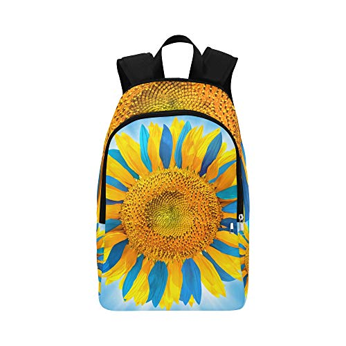 QYUESHANG Sunflower with Petals in Colors of Ukrainian Flag Casual Daypack Travel Bag College School Backpack for Mens and Women