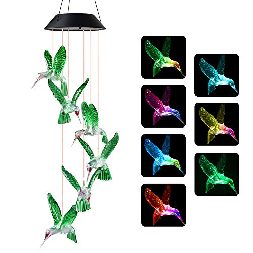 Wind Chimes, Hummingbird Wind Chimes Outdoor,Solar Wind Chimes, Gifts for mom, Birthday Gifts for Women (Windchime Hummingbird)