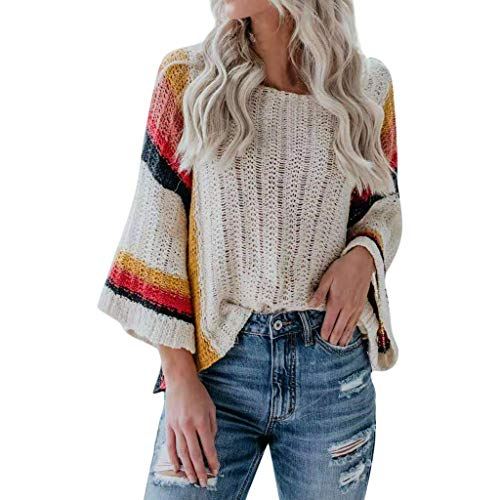 Miranda Sings Halloween Costume (HomeMals Women's Casual Color Block Chunky Stripe Cable Knitted Crew Neck Loose Pullover Sweaters Jumper)