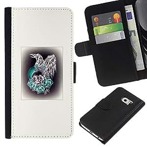 EJOY---La carpeta del tirón la caja de cuero de alta calidad de la PU Caso protector / Samsung Galaxy S6 EDGE / --Aves rapaces Hawk Cráneo blanco impresiones