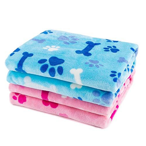 Allisandro Dog Blanket Super Soft and Fluffy Premium Flannel Fleece Cat Puppy Throw Blanket, Appealing and Cute Paw Prints Design, 31x24, 2 Pack