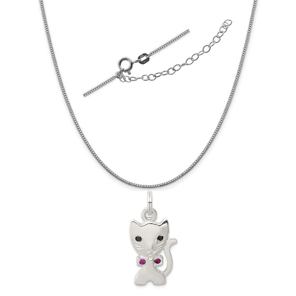 2 Extender 18 Sterling Silver Enameled Cat Charm on an Adjustable Chain Necklace