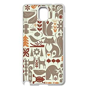 Samsung Galaxy Note 3 Cases Tracy Walker, Illustration, Graphic Design, Vector, Colour, Autumn, Nature, Woodland, Fox, Deer, Bird, Pattern, Print, Repeat, Lino, Samsung Galaxy Note 3 Cases Deer, [White]