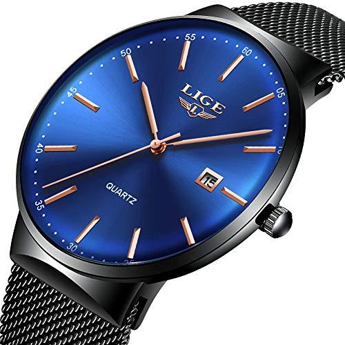 Mens Watches,LIGE Watches Men Fashion Sports Waterproof Stainless Steel Mesh Wristwatch Men Bussiness Dress with Date Black Blue Dial Analog Quartz Watch Man ... ...