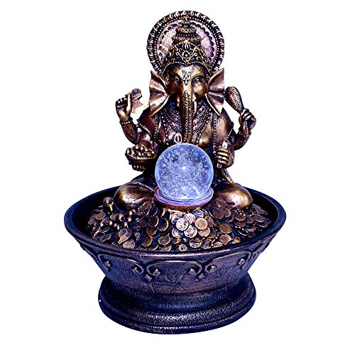 Ganesha Water Fountain Bundle with Coloring Changing Light, Rolling Ball and 2 Healing Stones (4 Pc Bundle) BY Imprints Plus (27337)