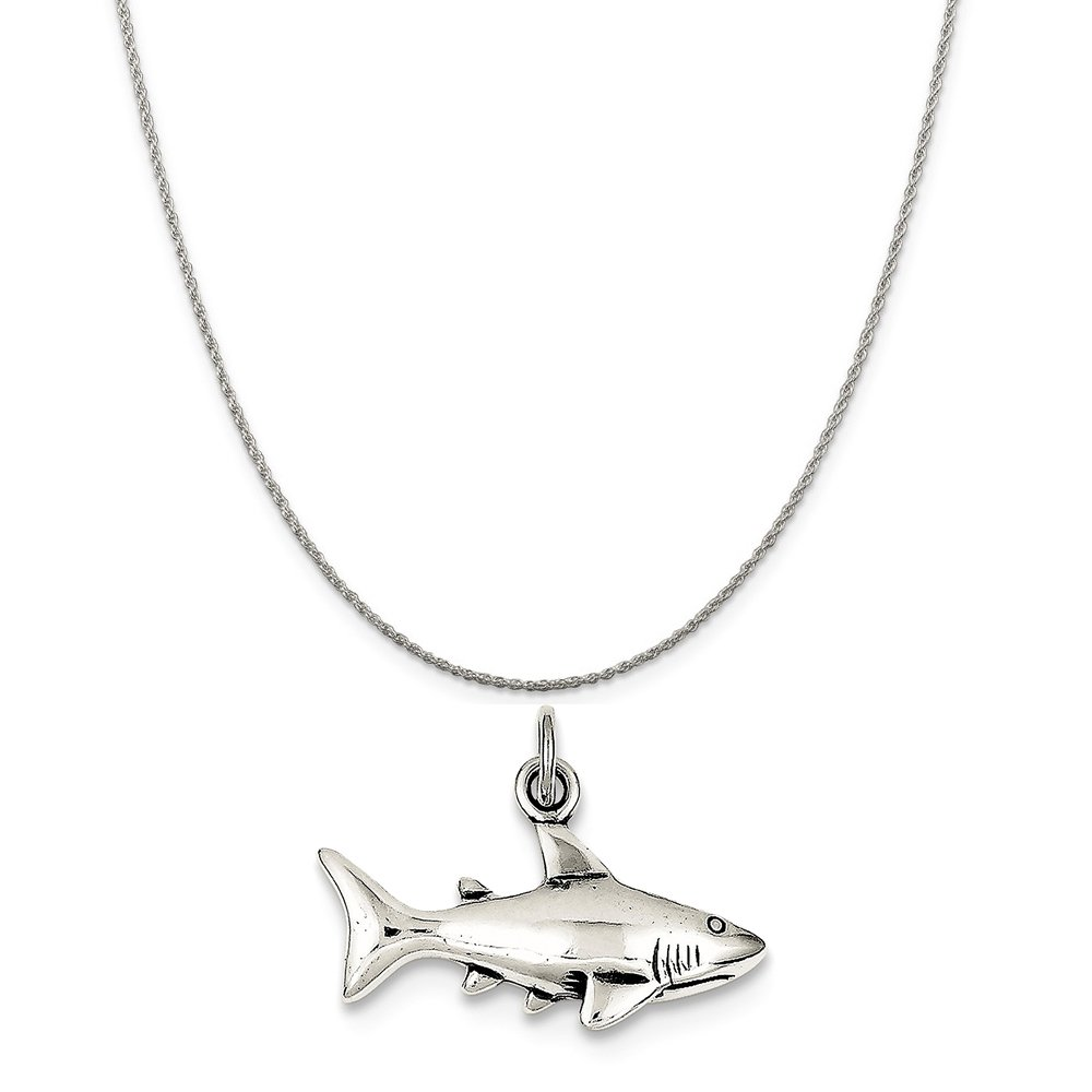 16-20 Mireval Sterling Silver Antique Shark Charm on a Sterling Silver Chain Necklace