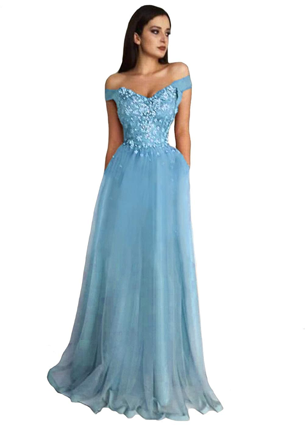 bluee Tsbridal Women Off The Shoulder Bead Tulle Prom Dresses Long Evening Party Gown