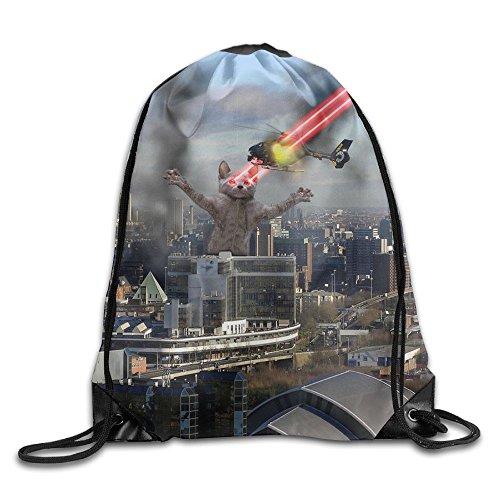 (CUW BBCUW Cat Laser Rampage and Destroy All Over Novelty Drawstring Backpack Athletic Sackpack for Men & Women School Travel Bag)