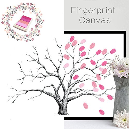 New Home Decoration Fingerprint Canvas Peach Tree Pattern Autograph Painting for Wedding,Party,Birthday,Room with Inkpad-Style Option-FPBD001